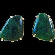 Green Jasper French Clip Button Earrings