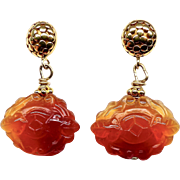 Carved Carnelian Bats Drop Earrings