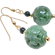 Carved Green Aventurine Drop Earrings