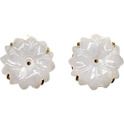 Carved White Jad Flower Button Earrings