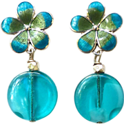 Turquoise Enameled Silver Flower and Vintage German Glass Drop Earrings