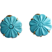 Chinese Turquoise Flower Button Earrings