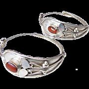 Vintage Indian Silver and Coral Hoop Earrings
