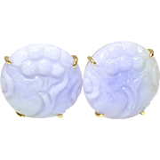 Natural Lavender Jade Lotus Button Earrings