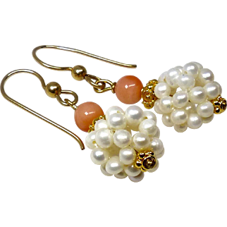 Seed Pearl and Coral Drop Earrings