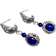 Blue Lapis and Sterling Silver Drop Earrings