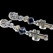 Small Silver Crosses Drop Earrings