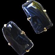 Blue Tigereye Button Earrings