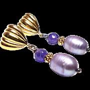 Faceted Amethyst, Lavender Rice Pearls Drop Earrings