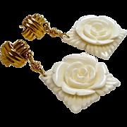Hand Carved Bone Flower Drop Earrings
