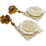 Hand Carved Bone Flower Drop Earrings