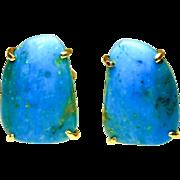 Turquoise Peruvian Opal Button Earrings