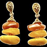 Golden Baltic Butter Amber Drop Earrings