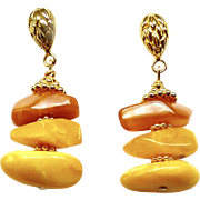 Golden Baltic Butter Amber Drop Earrings