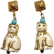 Hand Carved Bone Cats Drop Earrings