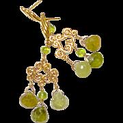 Faceted Green Garnet, Peridot Chandelier Drop Earrings