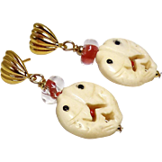 Carved Bone Double Fish, Red Glass Bead Drop Earrings
