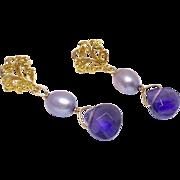 Faceted Amethyst Teardrop and Rice Pearl Drop Earrings