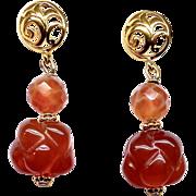 Carnelian Etermnal Knot Drop Earrings