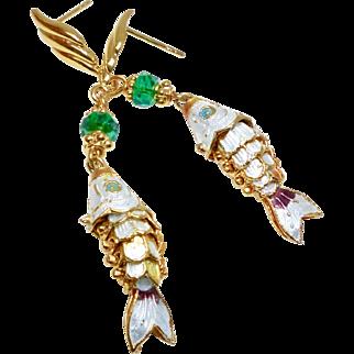 Vintage Chinese Gold Enameled Segmented Fish Drop Earrings