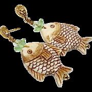 Carved Bone Fish with Fluorite Drop Earrings