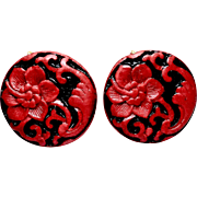Carved Red Cinnabar Flower Button  Earrings