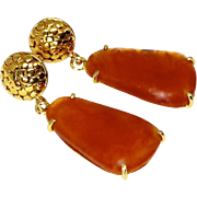 Rich Orange Carnelian Agate Drop Earrings