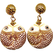 Carved Bone Fish Drop Earrings