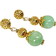 Enhanced Green Jade Drop Earrings