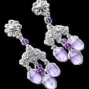 Amethyst Drop Chandelier Earrings