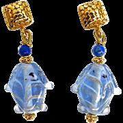 Vintage Blue Glass Lamp Work Fish Drop Earrings