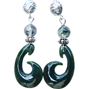 Dark Green Jade, Drop Earrings