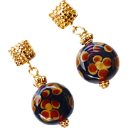 Brown, Red and Gold Glass Flower Drop Earrings