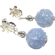 Carved Natural Blue Jade Dragon Bead Drop Earrings