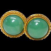 Vintage Green Aventurine, 18k Gold Vermeil Clip Button Earrings