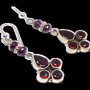 Faceted Garnet, Sterling Silver Drop Earrings