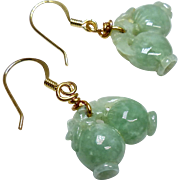 Carved Green Jade Double Peach Drop Earrings