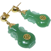 Vintage Chinese Natural Green Jade Vases, 14k Gold Drop Earrings