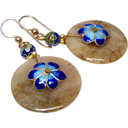 Serpentine and Blue Cloisonne Drop Earrings