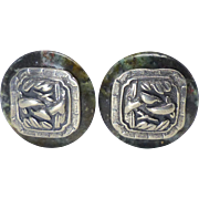 Antique Chinese Pewter Buttons, African Turquoise Button Earrings