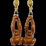 Boxwood Hanging Monkey Drop Earrings