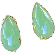 Vintage Jade and 14k Gold Button Earrings