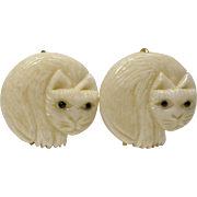 Carved Bone Cat Button Earrings