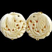 Carved Bone Phoenix Button Earrings