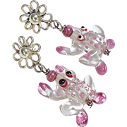 Pink Glass Work Frog Drop Earrings