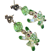 Green Glass Lamp Work Frog Drop Earrings