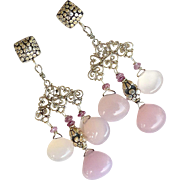 Pink Chalcedony Chandelier Drop Earrings