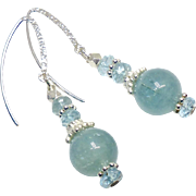 Natural Aquamarine Drop Earrings