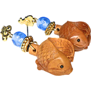 Hand Carved Boxwood Fish and Blue Glass Drop Earrings