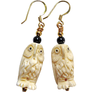 Hand Carved Bone Owls Drop Earrings